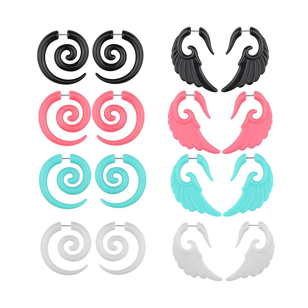 Acrylic Spiral Earrings Pinchers & Spirals 8d255f28538fbae46aeae7: Black|Black Wings|Blue Wings|Green|Red|Red Wings|white|White Wings