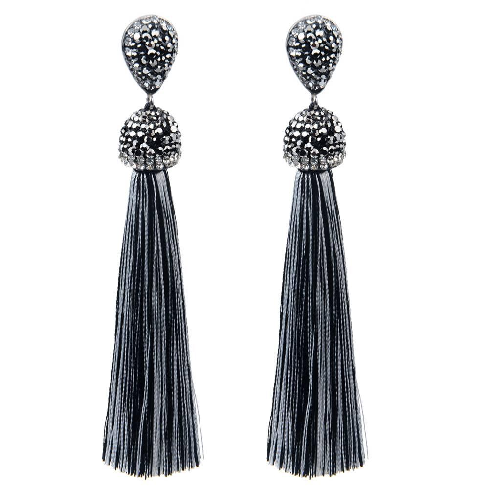 Long Crystal Tassel Earrings Earrings cb5feb1b7314637725a2e7: Black|Black and White|Coffee|Dark Blue|Light Blue|Olive|Peacock Blue|Pink|Red|Sky Blue|White|Yellow