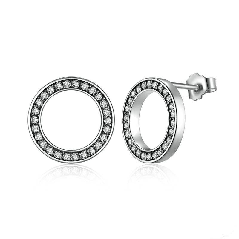 Minimalistic Silver and Crystal Round Women's Stud Earrings Earrings cb5feb1b7314637725a2e7: Gold|Silver