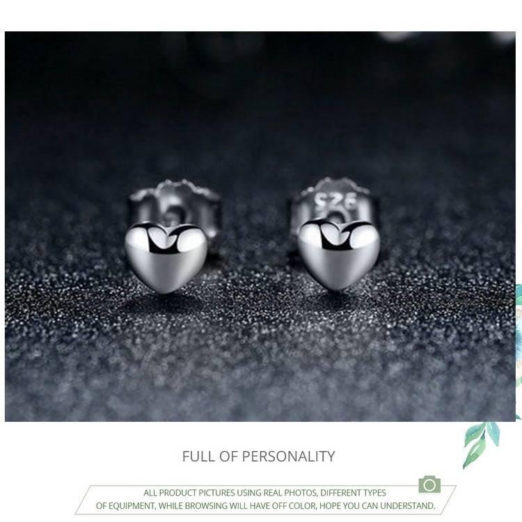 Cute Silver Mini Heart Women's Stud Earrings Earrings cb5feb1b7314637725a2e7: Pink Gold|Silver