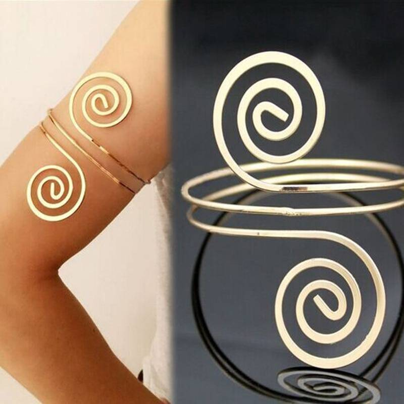 Ethnic Upper Arm Bracelets Arm Bands 8d255f28538fbae46aeae7: Golden|Silver