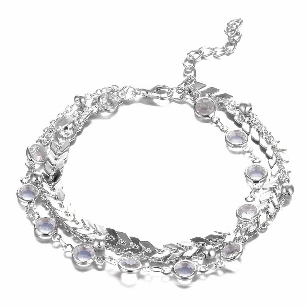 Women's Bohemian Crystal Multilayer Anklet