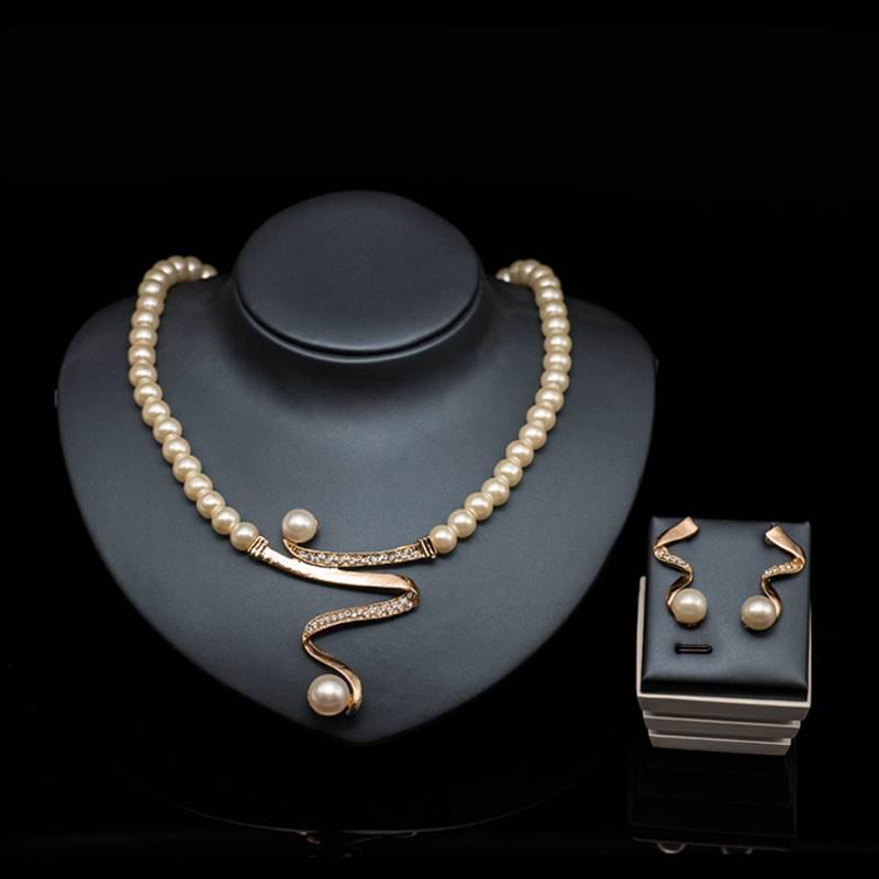 Charming Pearl Jewelry Set Jewelry Sets cb5feb1b7314637725a2e7: Gold+Champagne