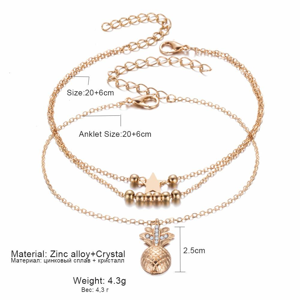 Women's Pineapple / Heart Design Anklet Anklets 8d255f28538fbae46aeae7: Gold|Gold Heart|Silver|Silver Heart