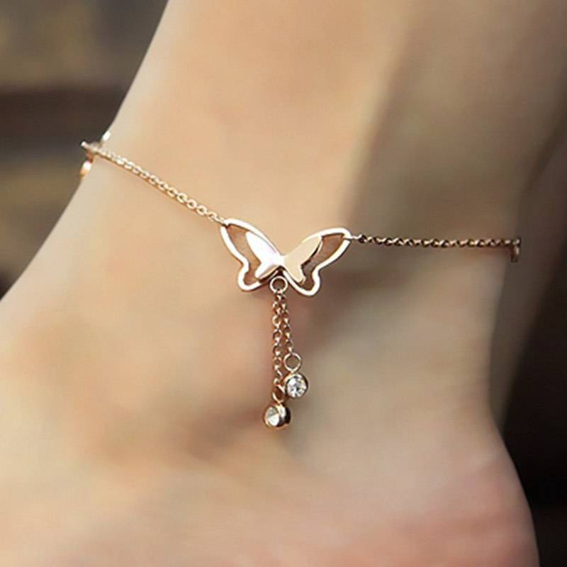 Anklet with Butterfly Pendant Anklets cb5feb1b7314637725a2e7: Gold Rose Gold Silver