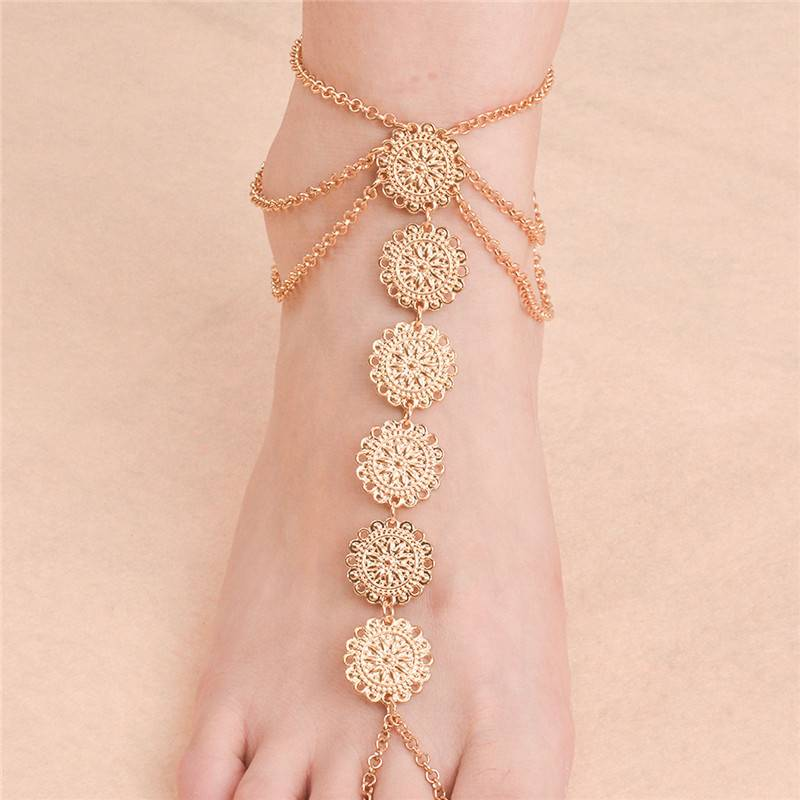 Carved Metal Coins Anklet Anklets 8d255f28538fbae46aeae7: Golden|Silver