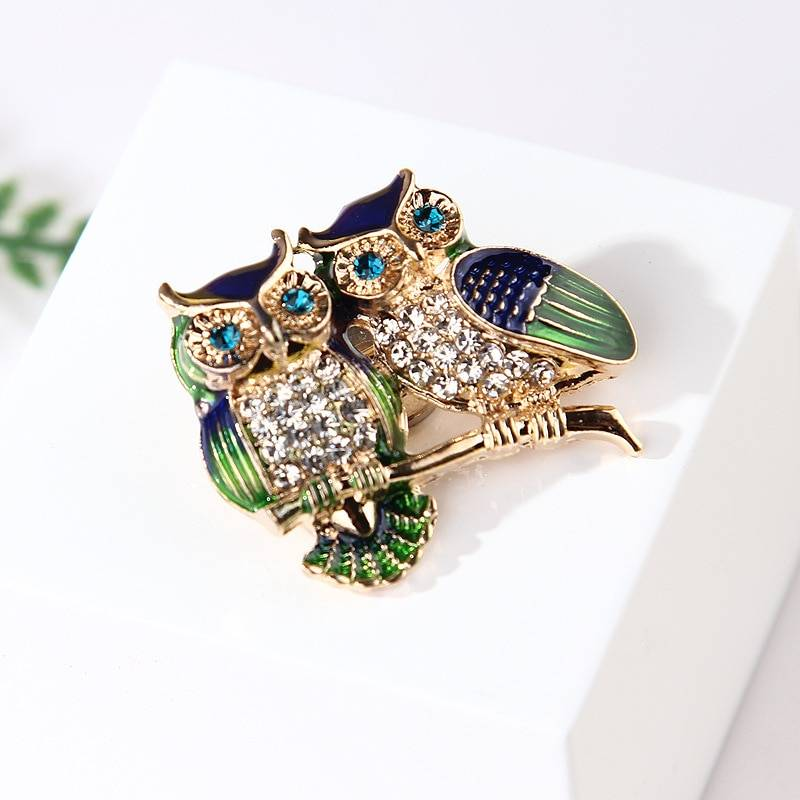 Cute Enamel Owls Couple Brooch Brooches