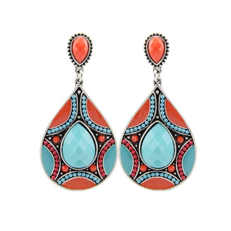 Women's Ethnic Ornamental Earrings Shoulder Jewelry cb5feb1b7314637725a2e7: Blue|Red