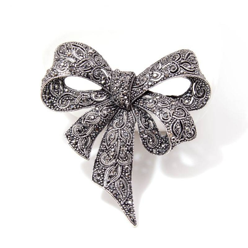 Black Bow Brooch with Rhinestones Brooches cb5feb1b7314637725a2e7: Black