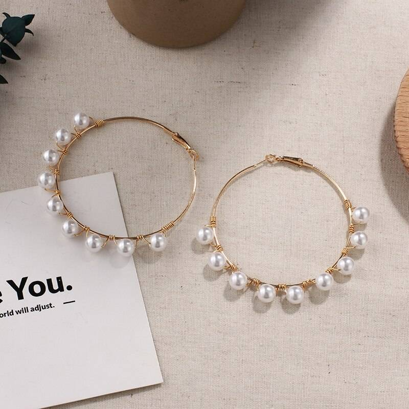 Simulated Pearl Big Round Earrings for Women