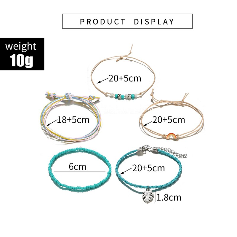 Women's Boho Anklets Set, 5 Pcs