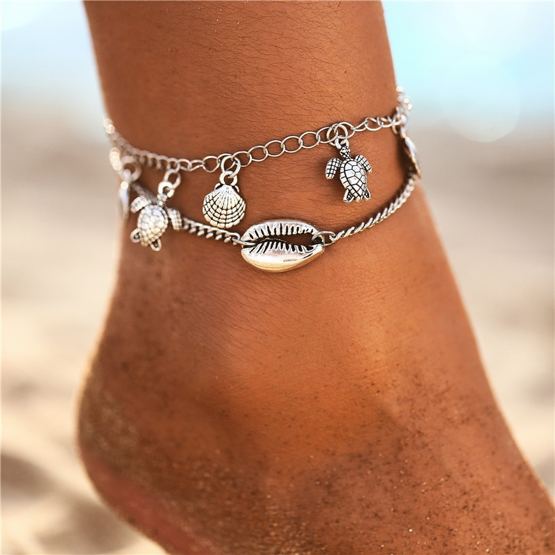 Women's Boho Sea Shell Decorated Anklets Set