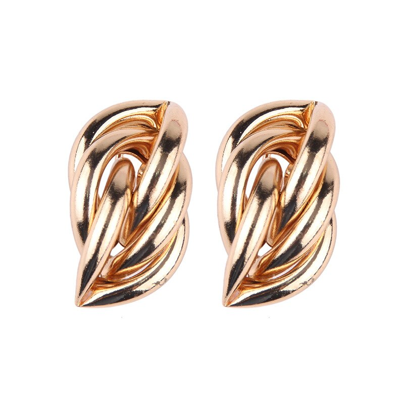 Geometric Metal Stud Earrings