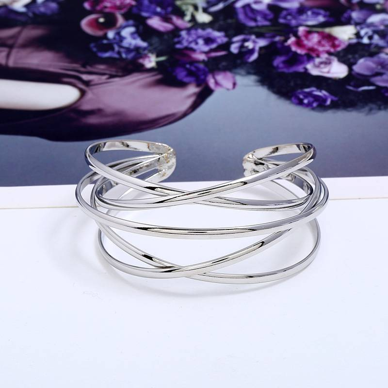 Women's Minimalist Geometric Ladder Bangle Bracelets 8d255f28538fbae46aeae7: Gold|Silver