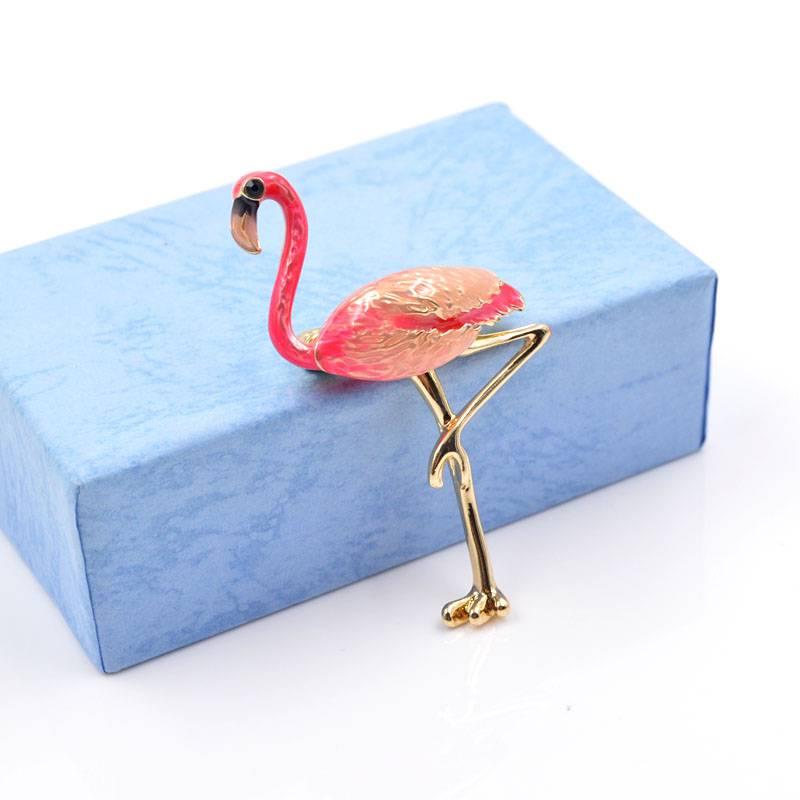 Cute Enamel Flamingo Shaped Brooch Brooches 8d255f28538fbae46aeae7: pink