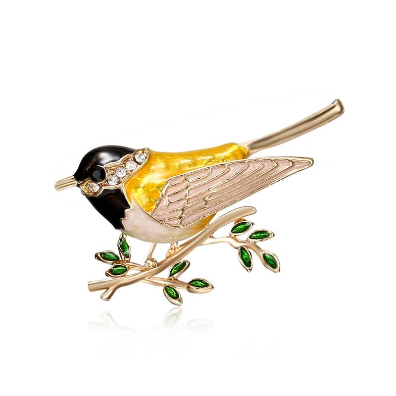 Women's Enamel Songbird Brooch Brooches cb5feb1b7314637725a2e7: Green|Red|Yellow