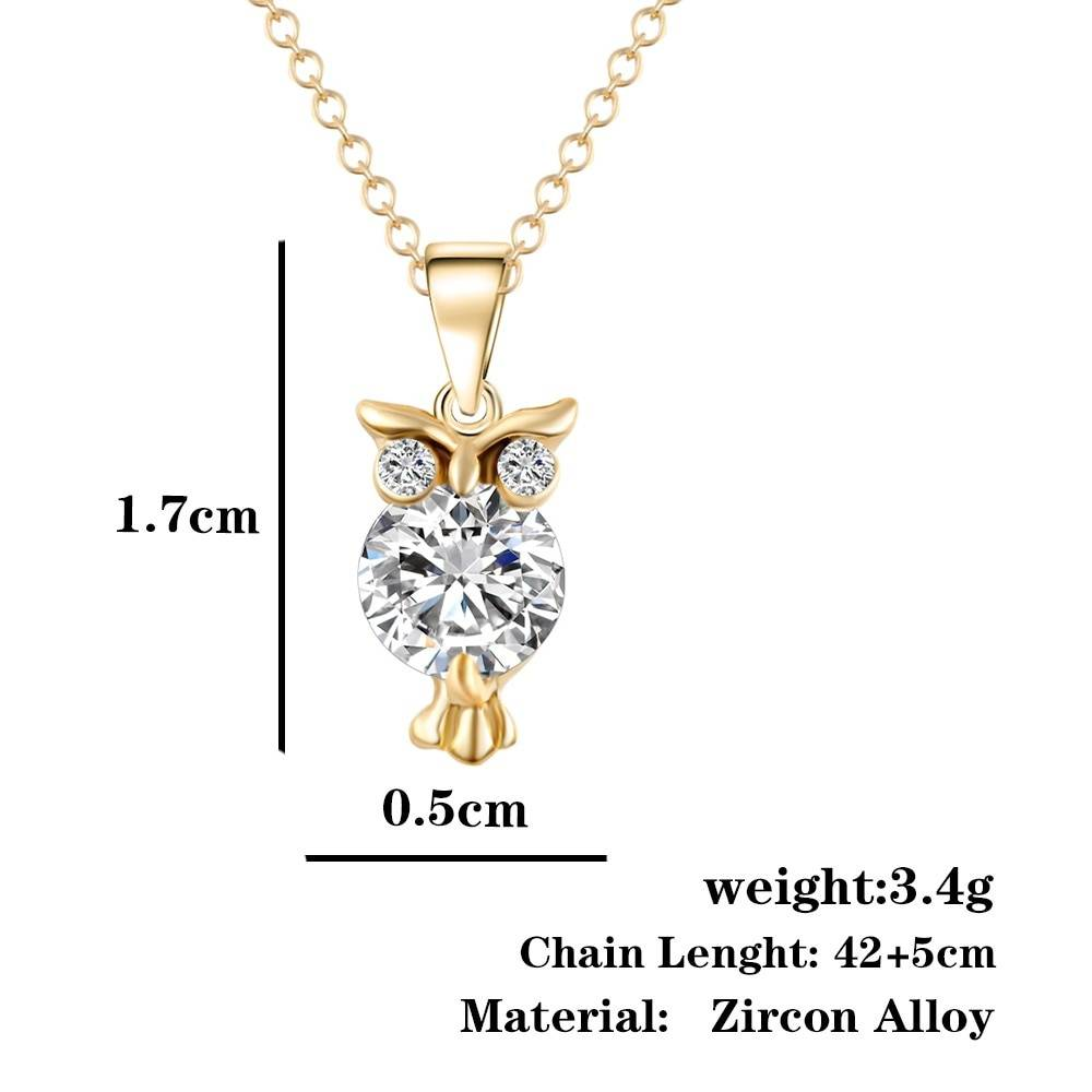 Fashion Owl Shaped Women's Zircon Pendant Necklace