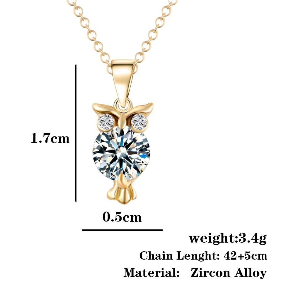 Fashion Owl Shaped Women's Zircon Pendant Necklace Necklaces cb5feb1b7314637725a2e7: Gold|Silver