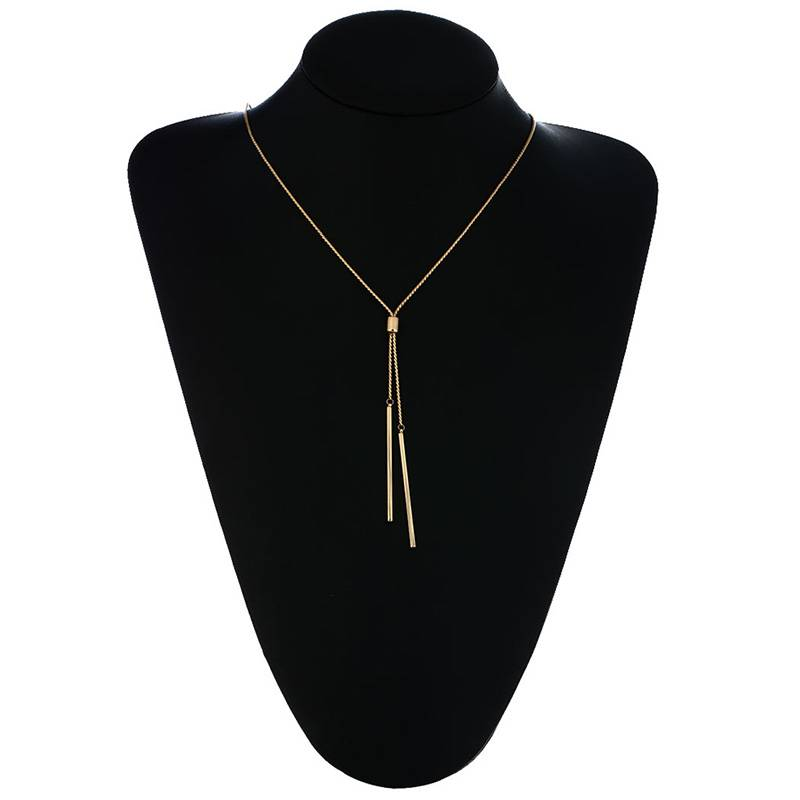 Double Bar Sautoir Necklace Necklaces cb5feb1b7314637725a2e7: Gold|Silver