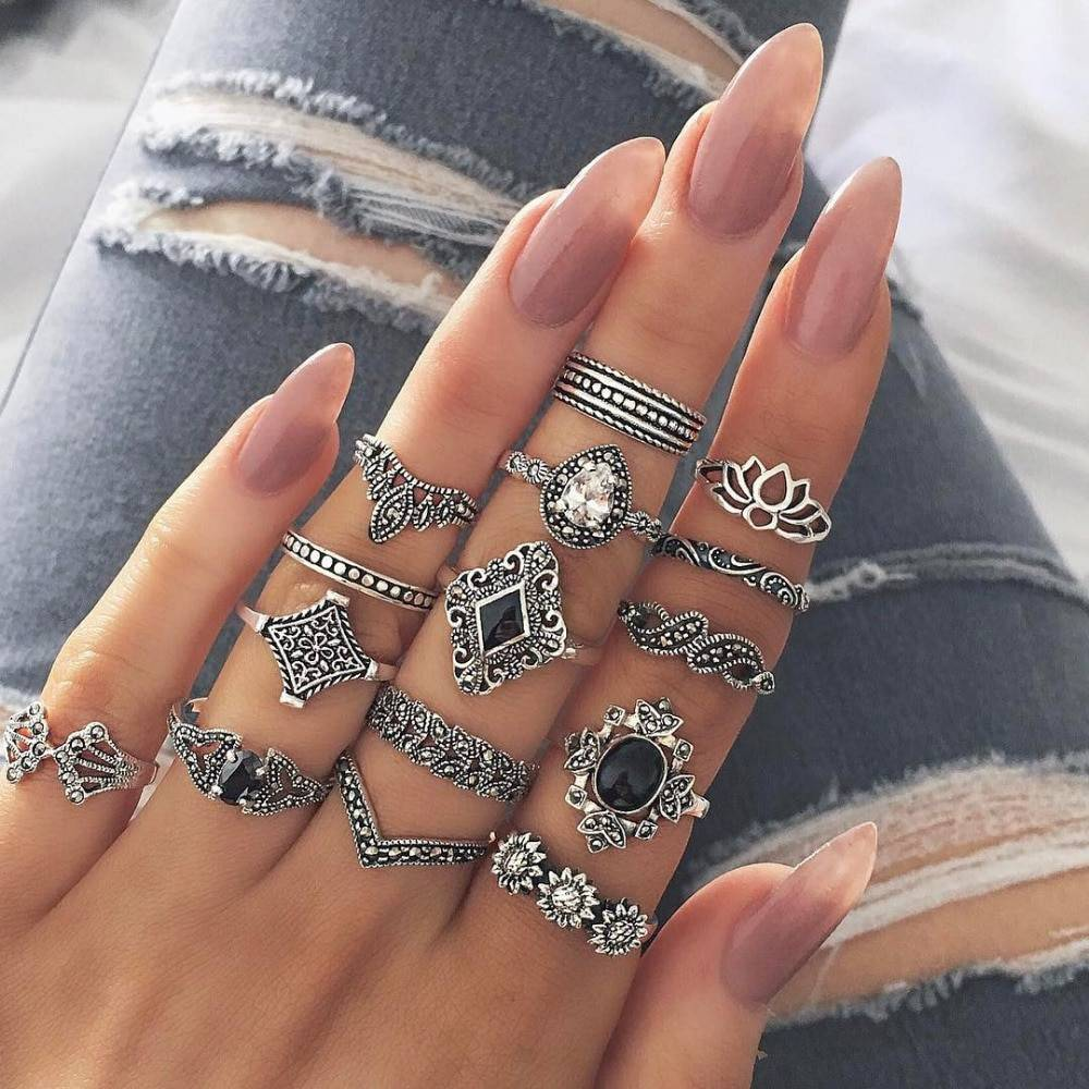 Bohemian Style Silver Rings 15 pcs Set Best Sellers Rings a4a426b9b388f11a2667f5: Silver