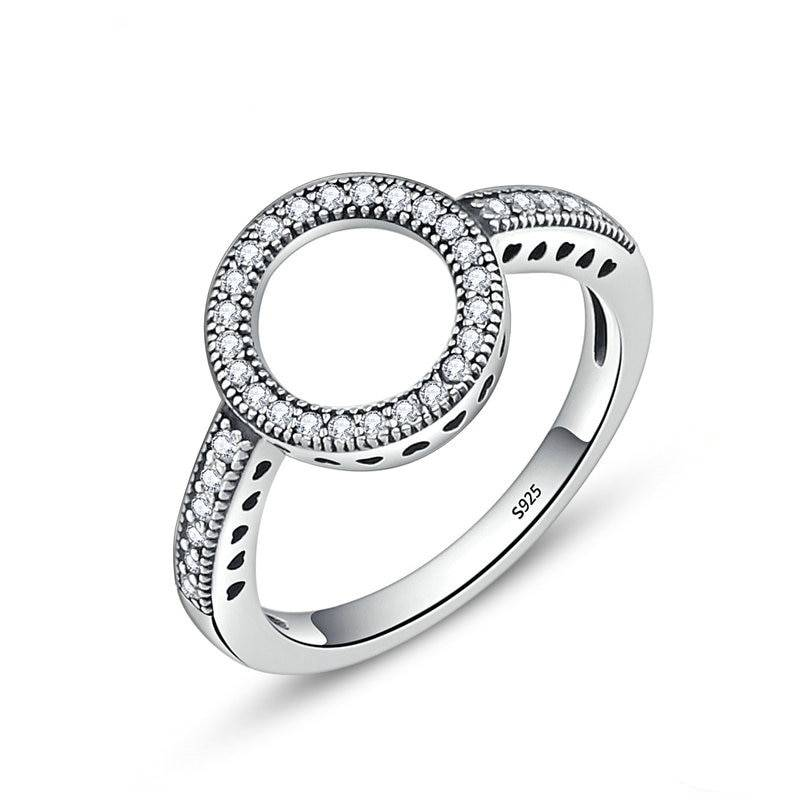 Women's Silver and Crystal Circle Ring Rings 2ced06a52b7c24e002d45d: 5|6|7|8|9