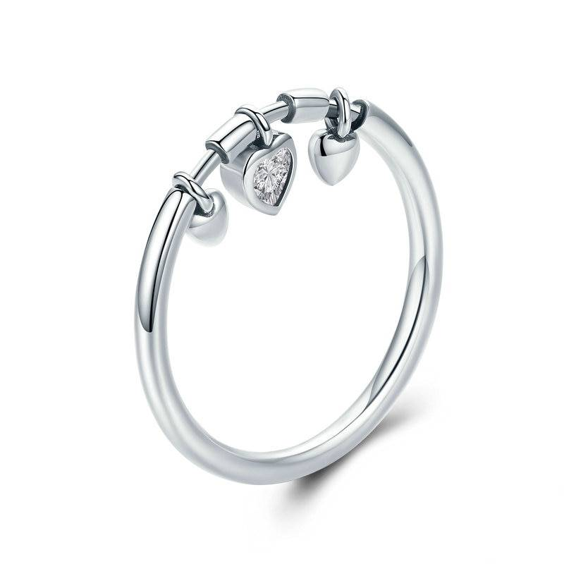 Women's Silver Ring with Glittery Heart Pendants Rings 2ced06a52b7c24e002d45d: 6|7|8