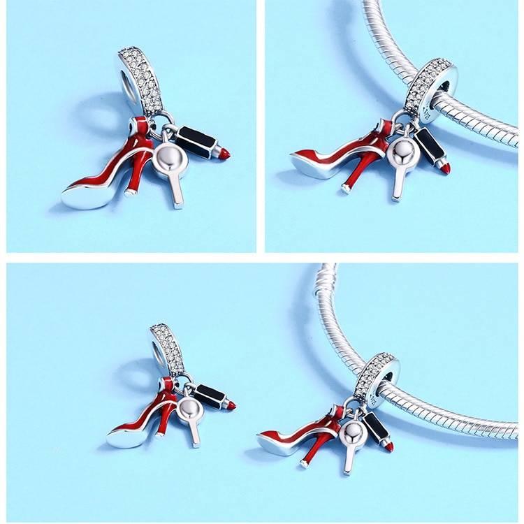 Silver Shoe and Lipstick Bracelet Charm Charms