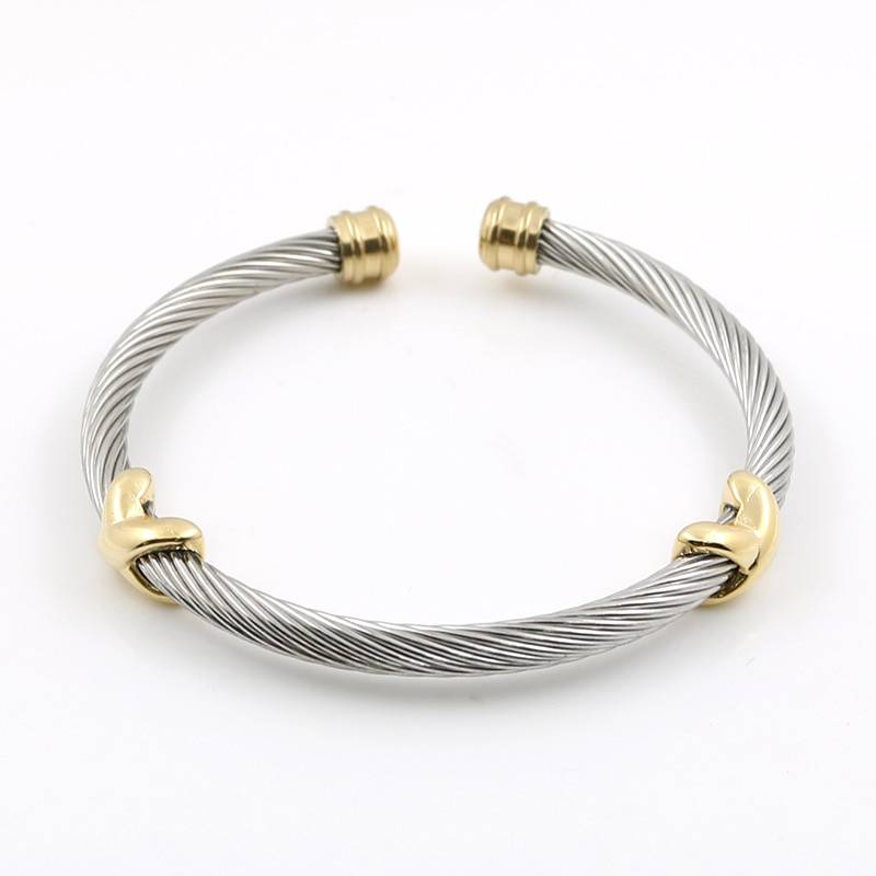 Braided Stainless Steel Cuff Bracelets Bracelets 8d255f28538fbae46aeae7: Gold|Silver