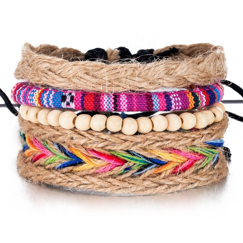 Colorful Beaded Multilayer Bracelets 4 pcs Set Bracelets cb5feb1b7314637725a2e7: Multicolor