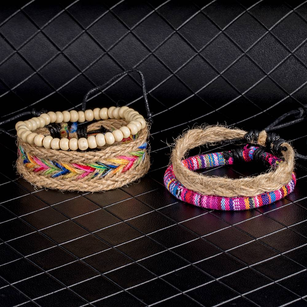 Colorful Beaded Multilayer Bracelets 4 pcs Set