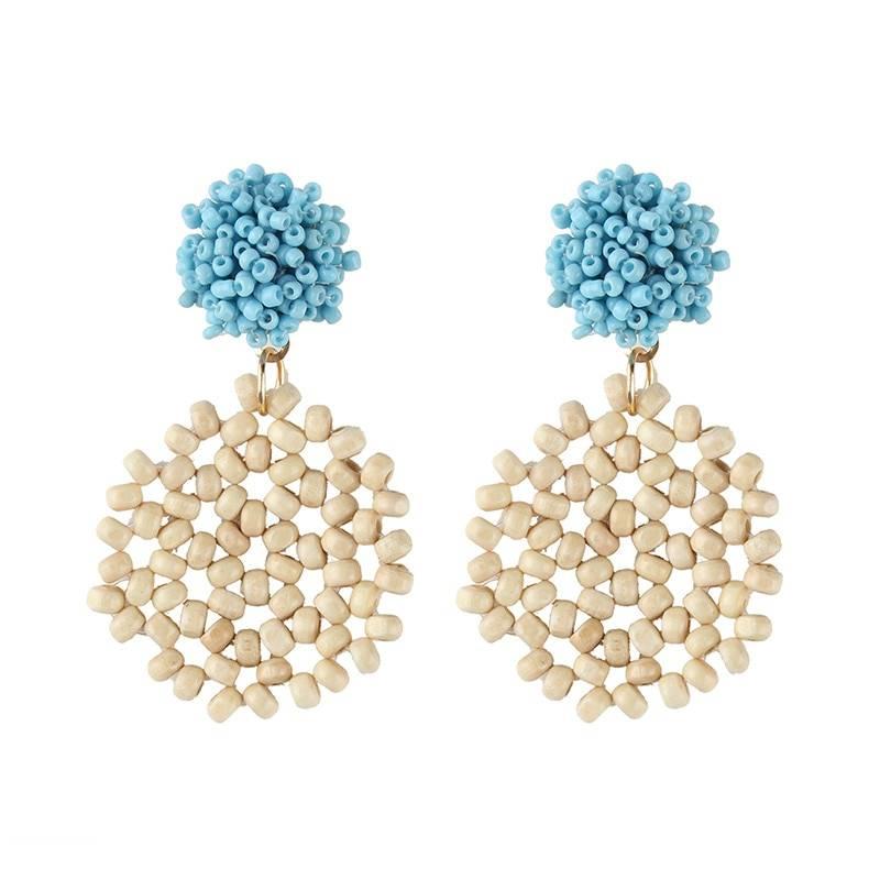 Colorful Round Drop Earrings Earrings cb5feb1b7314637725a2e7: Blue|Green|Pink|Yellow