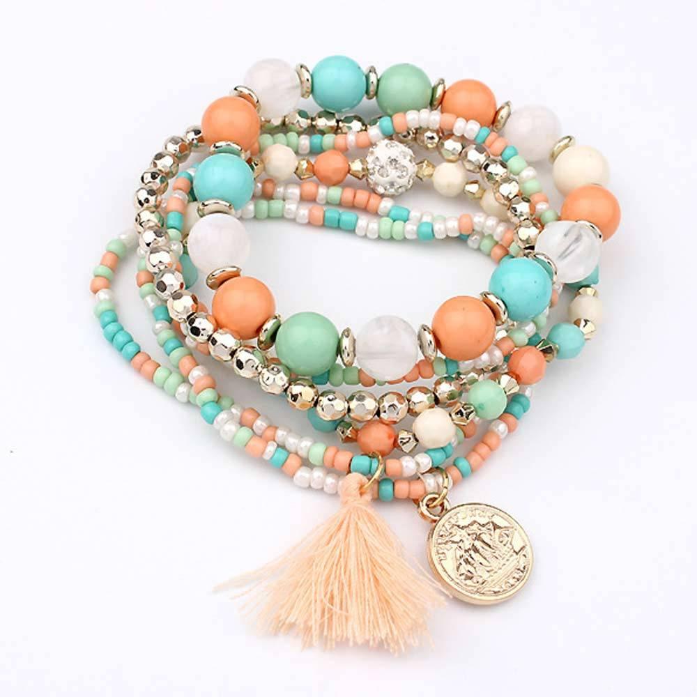 Cute Bohemian Colorful Beaded Bracelets Set Bracelets cb5feb1b7314637725a2e7: Black|Blue|Multicolor|Orange|Red|White
