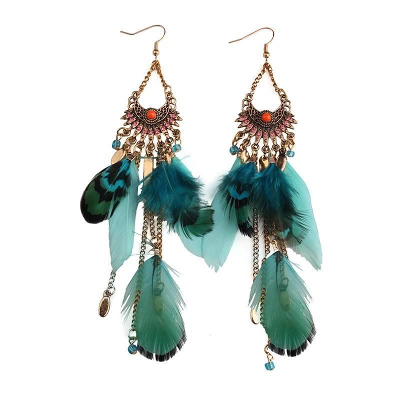 Cute Bohemian Tasseled Feather Women's Earrings Earrings cb5feb1b7314637725a2e7: Green|Orange|Red