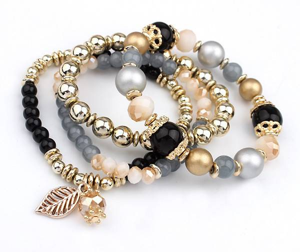 Fashion Multilayer Crystal Beaded Bracelets Bracelets cb5feb1b7314637725a2e7: Black|Blue|Brown|Pink|White