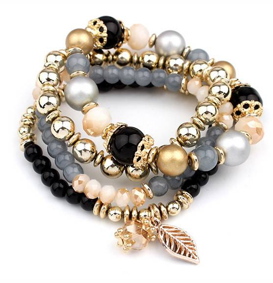 Fashion Multilayer Crystal Beaded Bracelets Bracelets cb5feb1b7314637725a2e7: Black|Blue|Brown|Pink|White