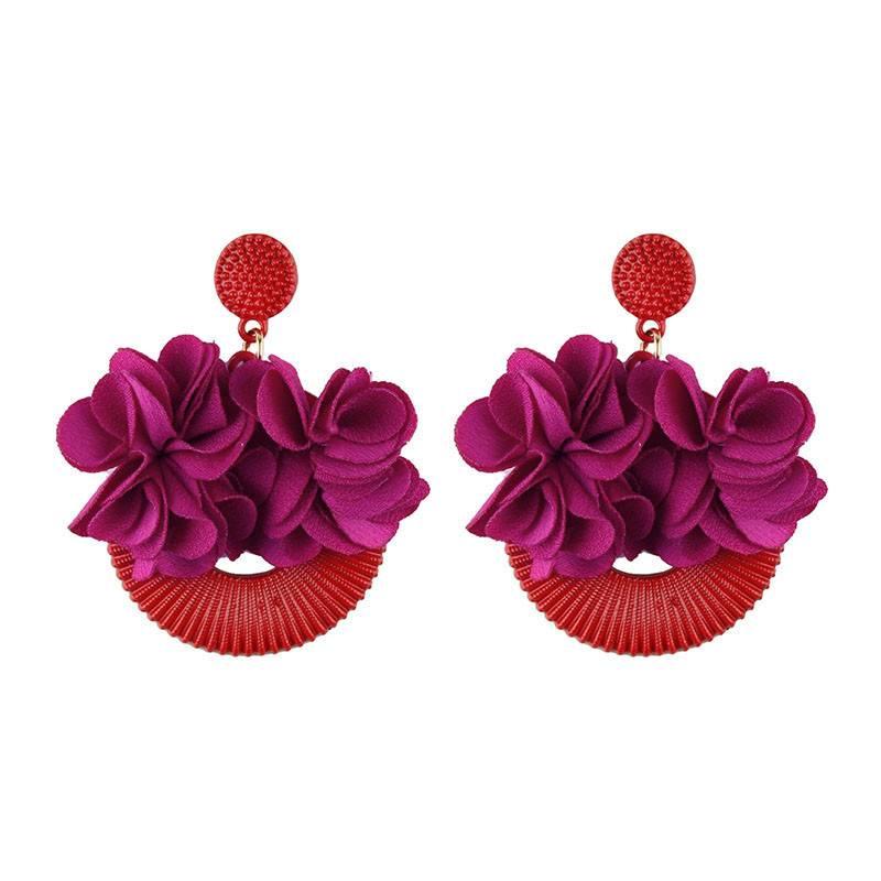 Flower Shaped Stud Earrings Earrings cb5feb1b7314637725a2e7: Black|Blue|Green|Purple|Red|Yellow