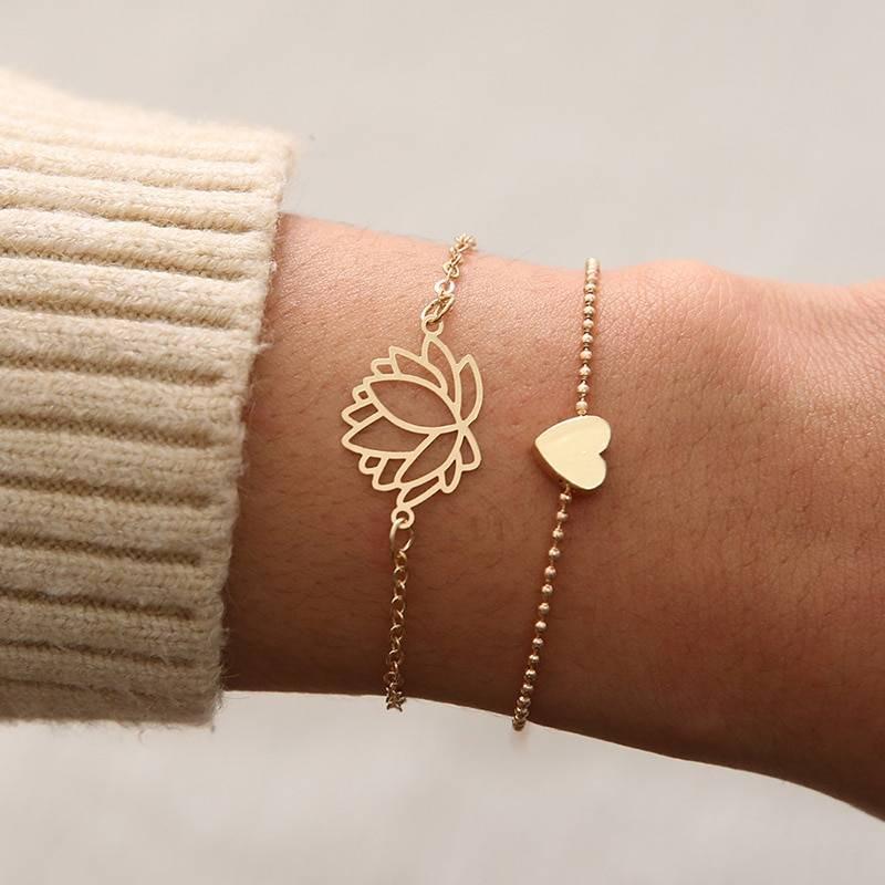 Link Chain Women's Bracelets 2 pcs Set Bracelets 8d255f28538fbae46aeae7: Brass Plated