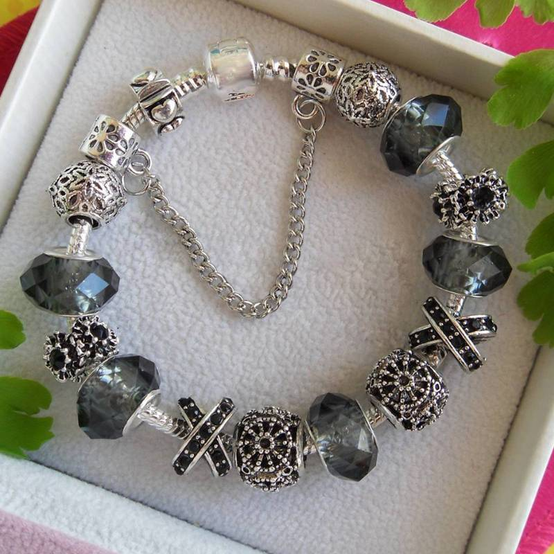 Luxury Glass Beads Silver Plated Bracelets for Women Bracelets 8d255f28538fbae46aeae7: Black|Blue|Mother / Daughter|Mother / Son|Pink Flower|Sapphire Dangle|White Flower