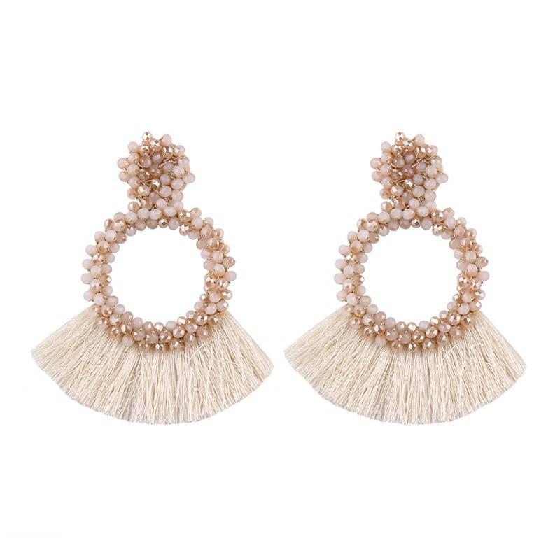 Round Tassel Drop Earrings