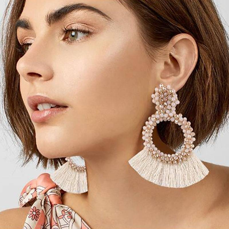 Round Tassel Drop Earrings Earrings cb5feb1b7314637725a2e7: Black|Blue|Brown|Red|White