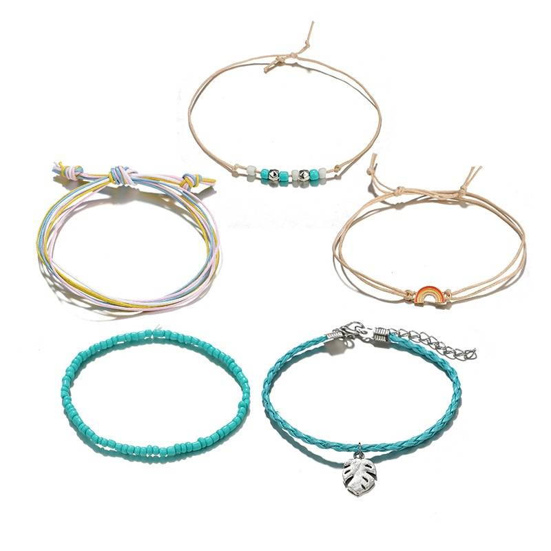 Women's Boho Anklets Set, 5 Pcs Anklets cb5feb1b7314637725a2e7: Blue