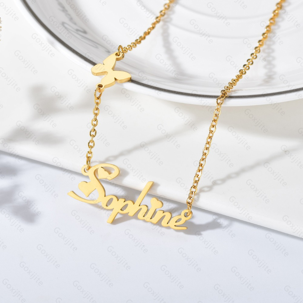 Personalized Stainless Steel Pendant with Butterfly