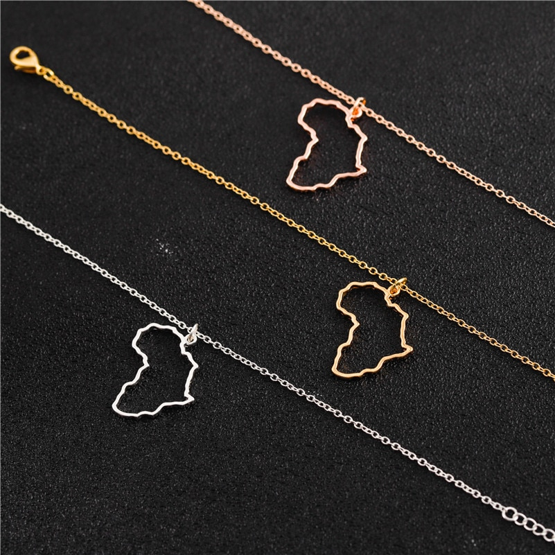 Africa Shaped Pendant Necklace