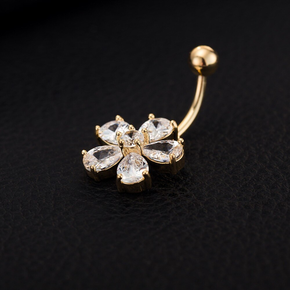 Clear CZ Crystal Flower Shaped Steel Button Ring for Women