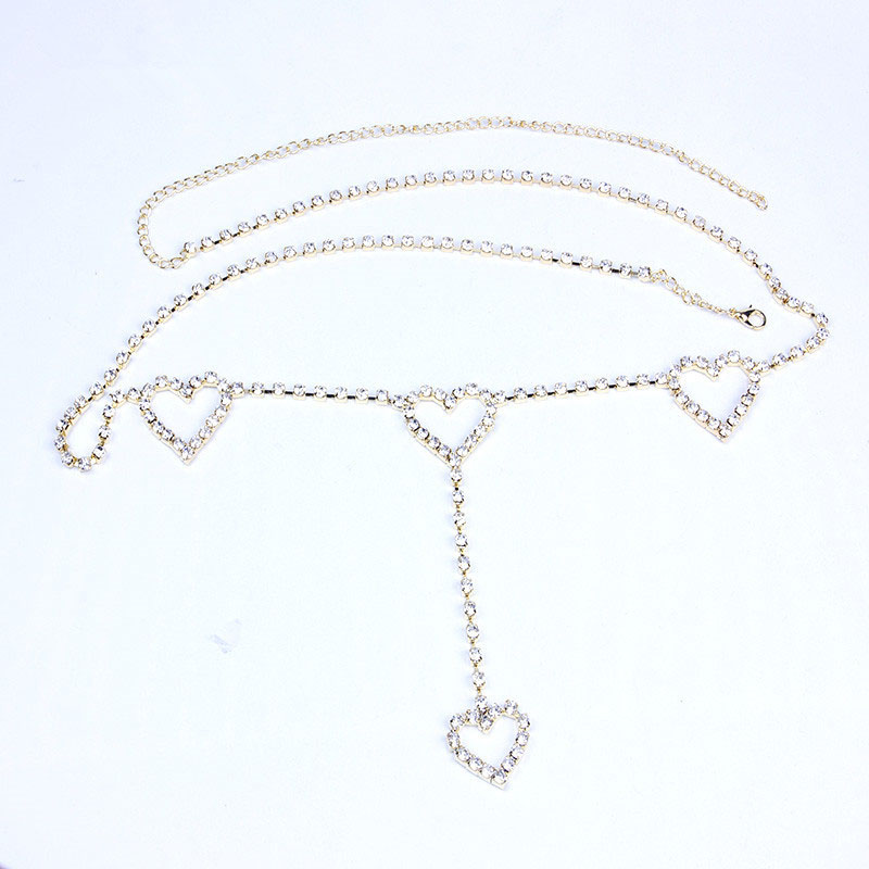 Rhinestone Patterned Waist Chain with Hearts