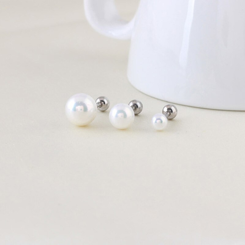 Women's Stainless Steel Screw Barbell Rings with Pearl Ball