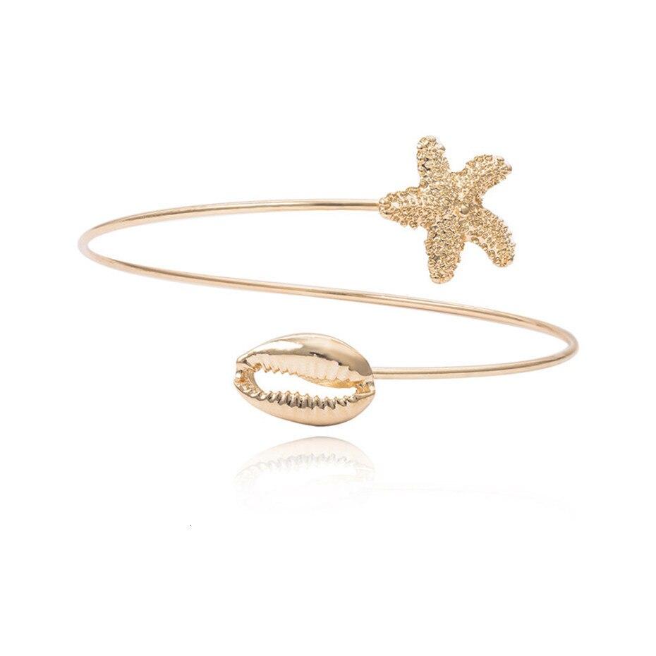 Bohemian Gold Color Starfish / Shell Arm Bangle for Women