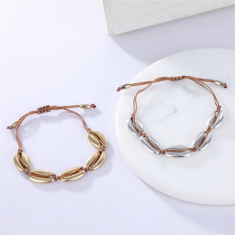Boho Style Shell Conch Rope Anklet for Women