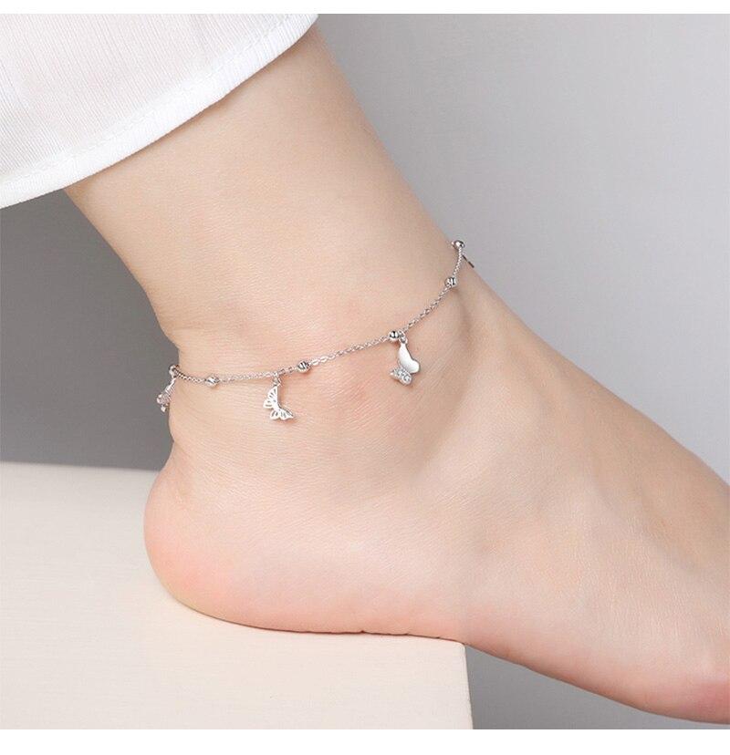 Women's Silver Butterfly Shape Ankle Bracelet