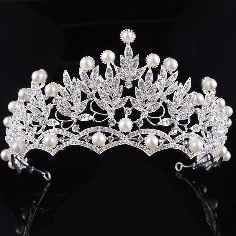 Women's Crystal / Pearl Silver Plated Hair Crown